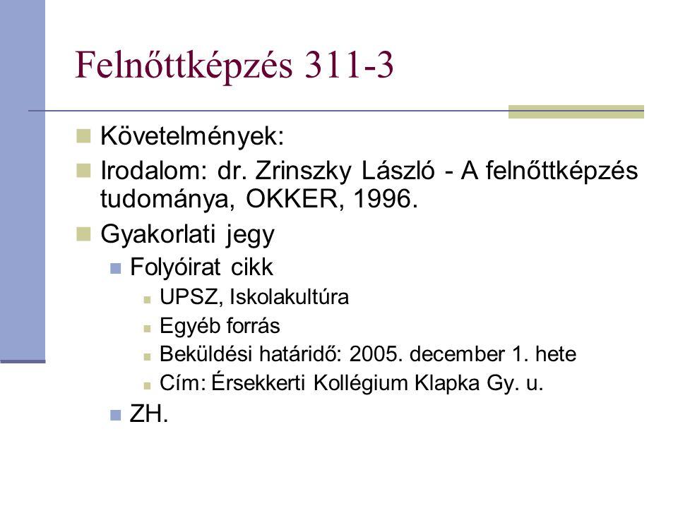 Felnőttképzés 311-3 Követelmények: Irodalom: dr. Zrinszky László - A felnőttképzés tudománya, OKKER, 1996. Gyakorlati jegy Folyóirat cikk UPSZ, Iskola