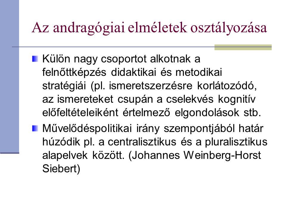 Az andragógiai elméletek osztályozása Külön nagy csoportot alkotnak a felnőttképzés didaktikai és metodikai stratégiái (pl. ismeretszerzésre korlátozó