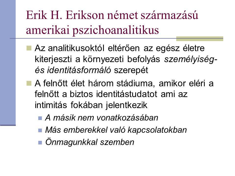 Erik H. Erikson német származású amerikai pszichoanalitikus Az analitikusoktól eltérően az egész életre kiterjeszti a környezeti befolyás személyiség-
