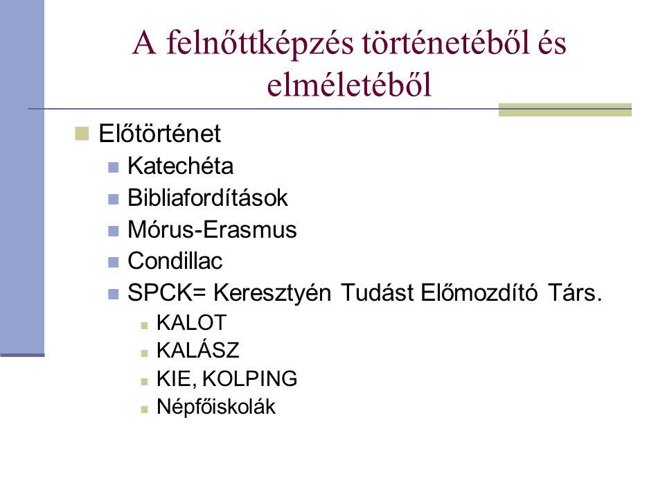 A felnőttképzés történetéből és elméletéből Előtörténet Katechéta Bibliafordítások Mórus-Erasmus Condillac SPCK= Keresztyén Tudást Előmozdító Társ. KA