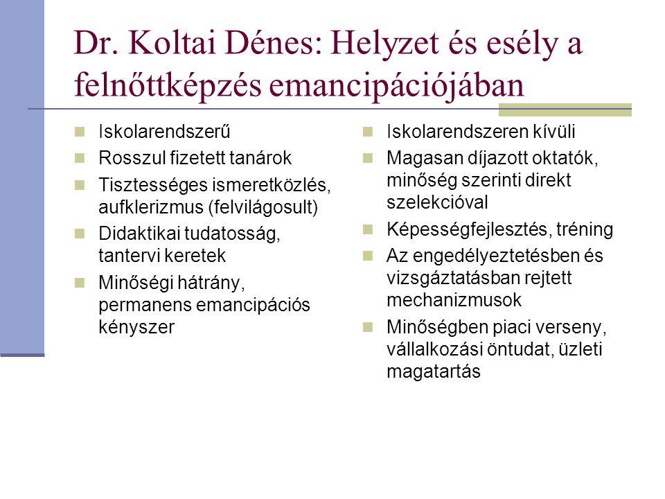 Dr. Koltai Dénes: Helyzet és esély a felnőttképzés emancipációjában Iskolarendszerű Rosszul fizetett tanárok Tisztességes ismeretközlés, aufklerizmus