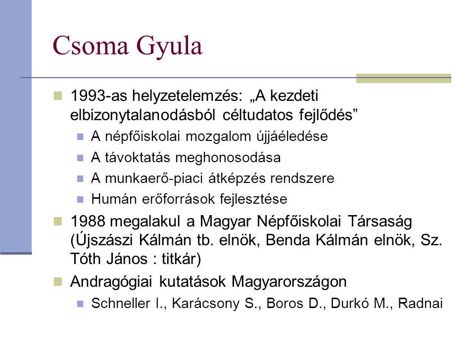 """Csoma Gyula 1993-as helyzetelemzés: """"A kezdeti elbizonytalanodásból céltudatos fejlődés"""" A népfőiskolai mozgalom újjáéledése A távoktatás meghonosodás"""