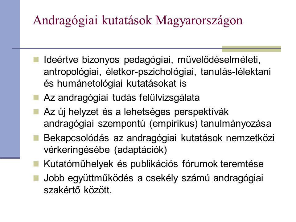 Andragógiai kutatások Magyarországon Ideértve bizonyos pedagógiai, művelődéselméleti, antropológiai, életkor-pszichológiai, tanulás-lélektani és humán