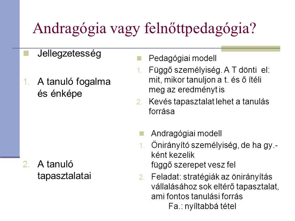 Andragógia vagy felnőttpedagógia? Jellegzetesség 1. A tanuló fogalma és énképe 2. A tanuló tapasztalatai Pedagógiai modell 1. Függő személyiség. A T d