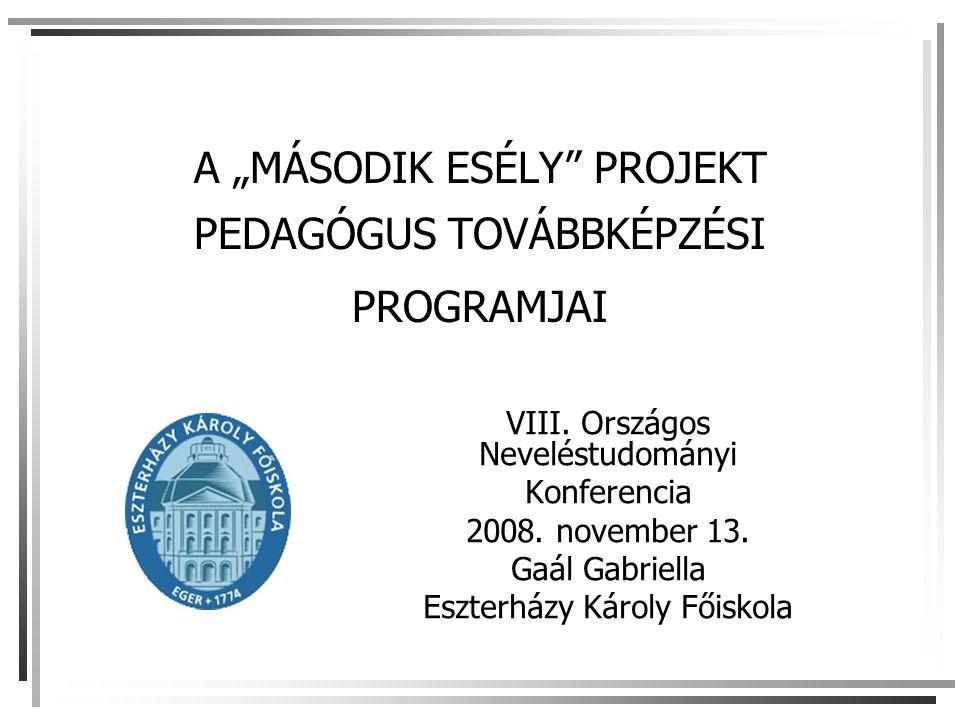 """A """"MÁSODIK ESÉLY"""" PROJEKT PEDAGÓGUS TOVÁBBKÉPZÉSI PROGRAMJAI VIII. Országos Neveléstudományi Konferencia 2008. november 13. Gaál Gabriella Eszterházy"""