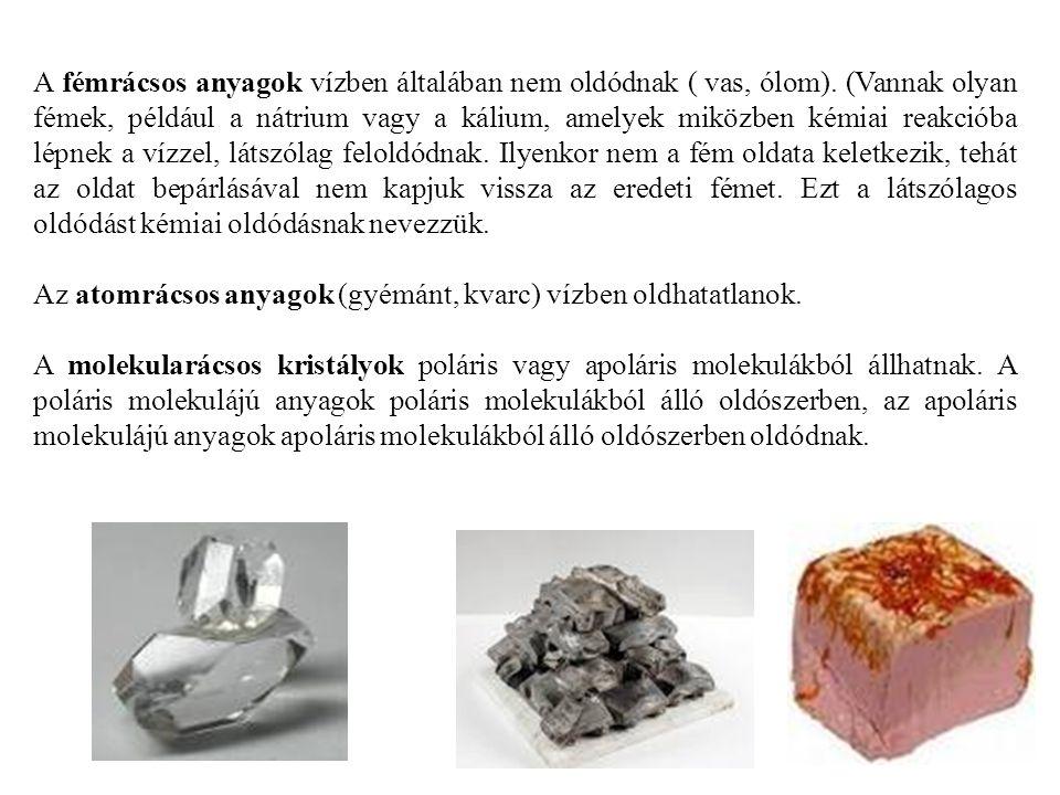 A fémrácsos anyagok vízben általában nem oldódnak ( vas, ólom). (Vannak olyan fémek, például a nátrium vagy a kálium, amelyek miközben kémiai reakciób