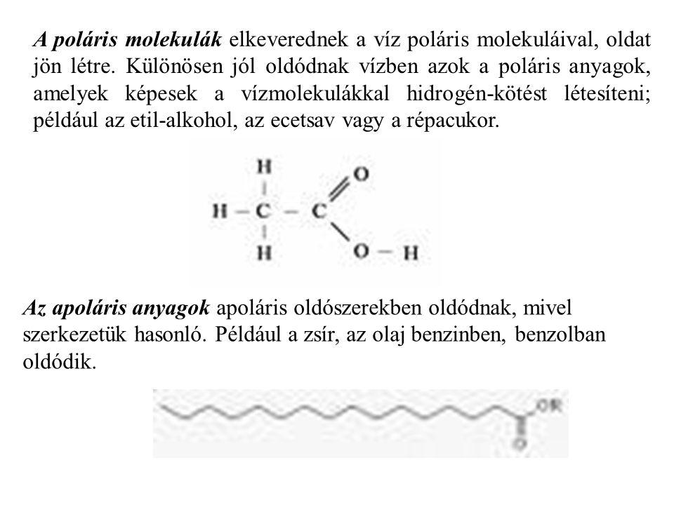A poláris molekulák elkeverednek a víz poláris molekuláival, oldat jön létre. Különösen jól oldódnak vízben azok a poláris anyagok, amelyek képesek a