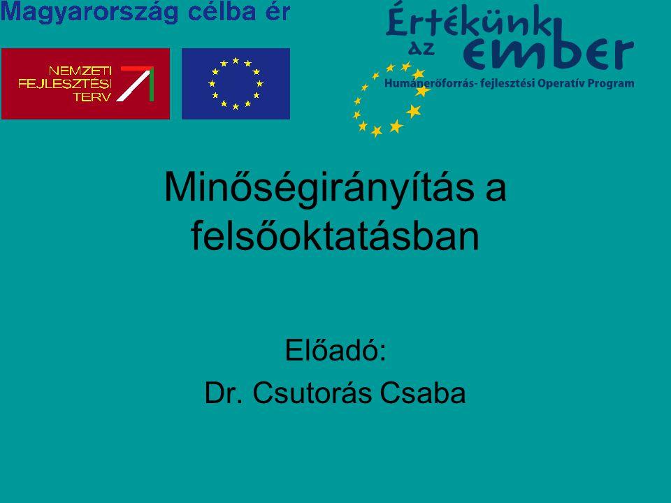 Minőségirányítás a felsőoktatásban Előadó: Dr. Csutorás Csaba