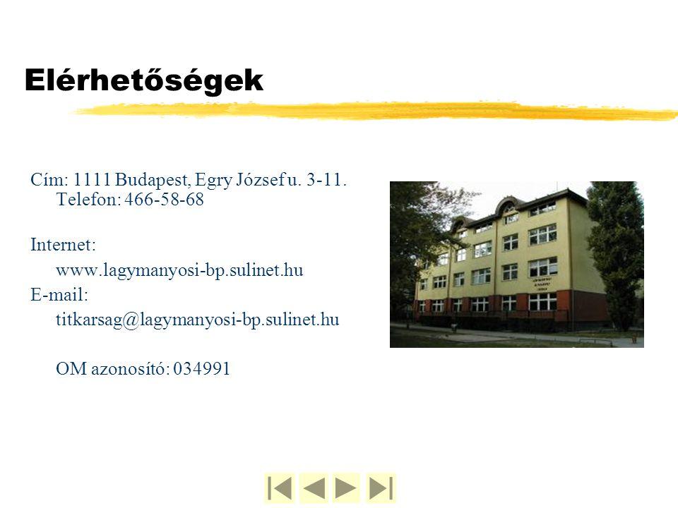 Elérhetőségek Cím: 1111 Budapest, Egry József u. 3-11. Telefon: 466-58-68 Internet: www.lagymanyosi-bp.sulinet.hu E-mail: titkarsag@lagymanyosi-bp.sul