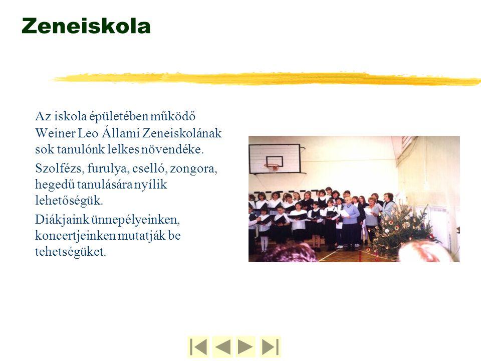 Zeneiskola Az iskola épületében működő Weiner Leo Állami Zeneiskolának sok tanulónk lelkes növendéke. Szolfézs, furulya, cselló, zongora, hegedű tanul