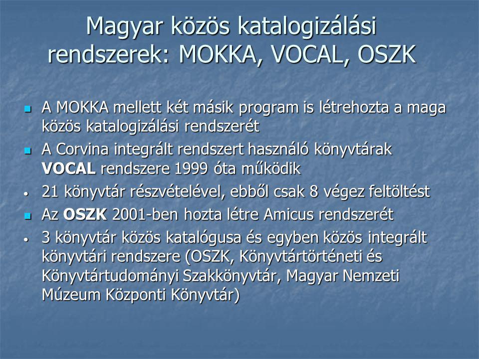 Magyar közös katalogizálási rendszerek: MOKKA, VOCAL, OSZK A MOKKA mellett két másik program is létrehozta a maga közös katalogizálási rendszerét A MO