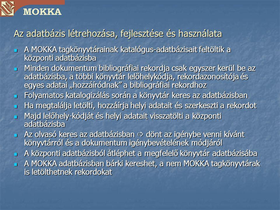 Az adatbázis létrehozása, fejlesztése és használata A MOKKA tagkönyvtárainak katalógus-adatbázisait feltöltik a központi adatbázisba A MOKKA tagkönyvt
