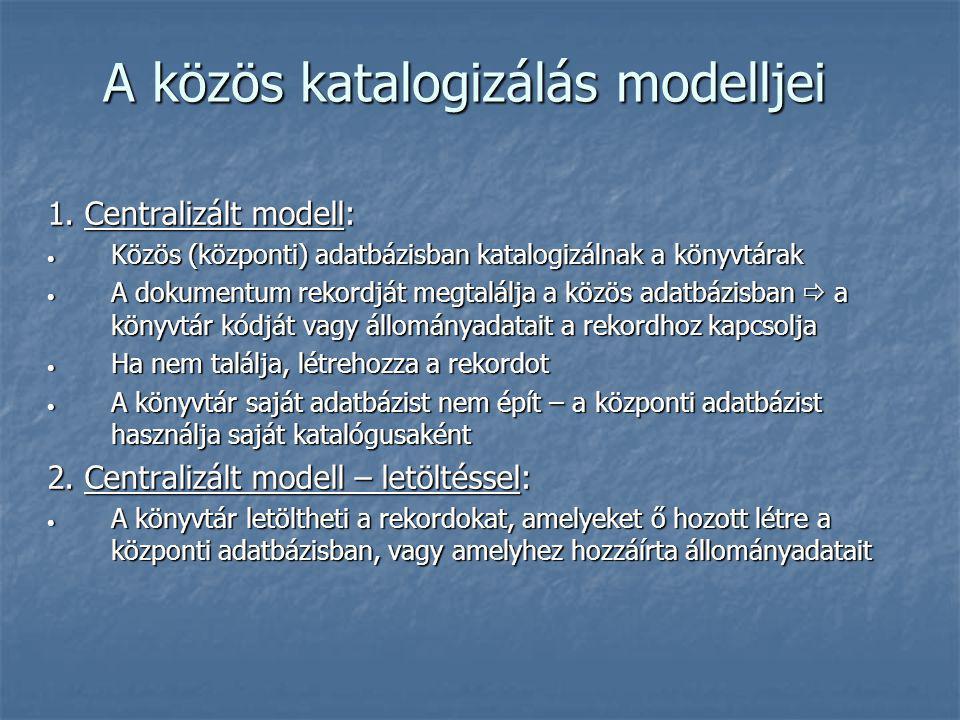 A közös katalogizálás modelljei 1. Centralizált modell: Közös (központi) adatbázisban katalogizálnak a könyvtárak Közös (központi) adatbázisban katalo
