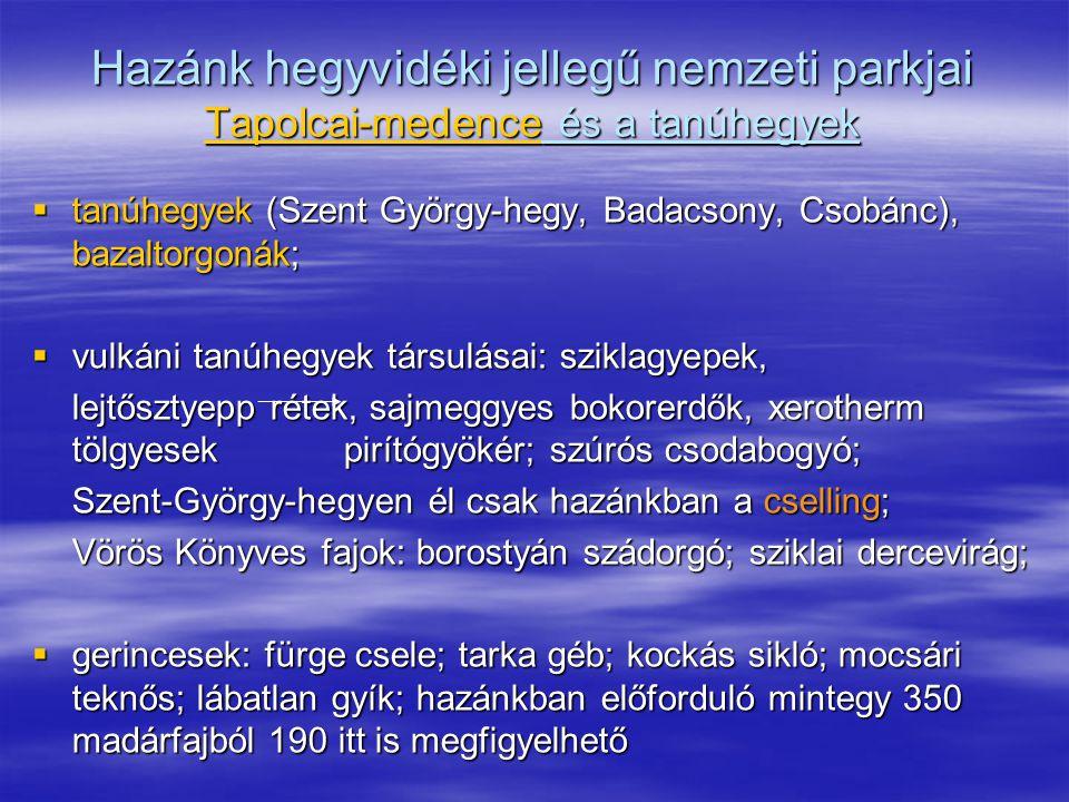 Hazánk hegyvidéki jellegű nemzeti parkjai Tapolcai-medence és a tanúhegyek  tanúhegyek (Szent György-hegy, Badacsony, Csobánc), bazaltorgonák;  vulk