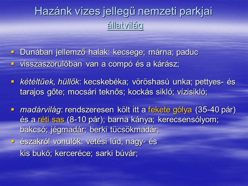Hazánk vizes jellegű nemzeti parkjai állatvilág  Dunában jellemző halak: kecsege; márna; paduc  visszaszorulóban van a compó és a kárász;  kétéltűe