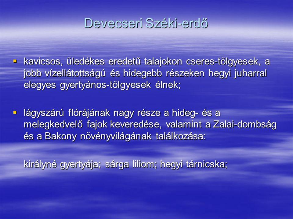 Devecseri Széki-erdő  kavicsos, üledékes eredetű talajokon cseres-tölgyesek, a jobb vízellátottságú és hidegebb részeken hegyi juharral elegyes gyert