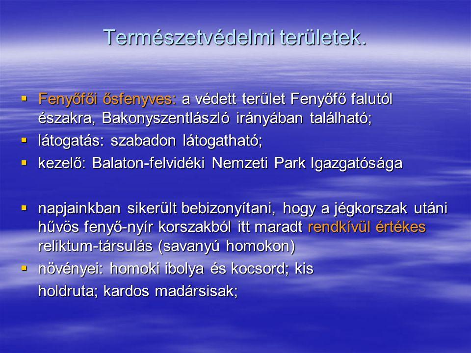 Természetvédelmi területek.  Fenyőfői ősfenyves: a védett terület Fenyőfő falutól északra, Bakonyszentlászló irányában található;  látogatás: szabad