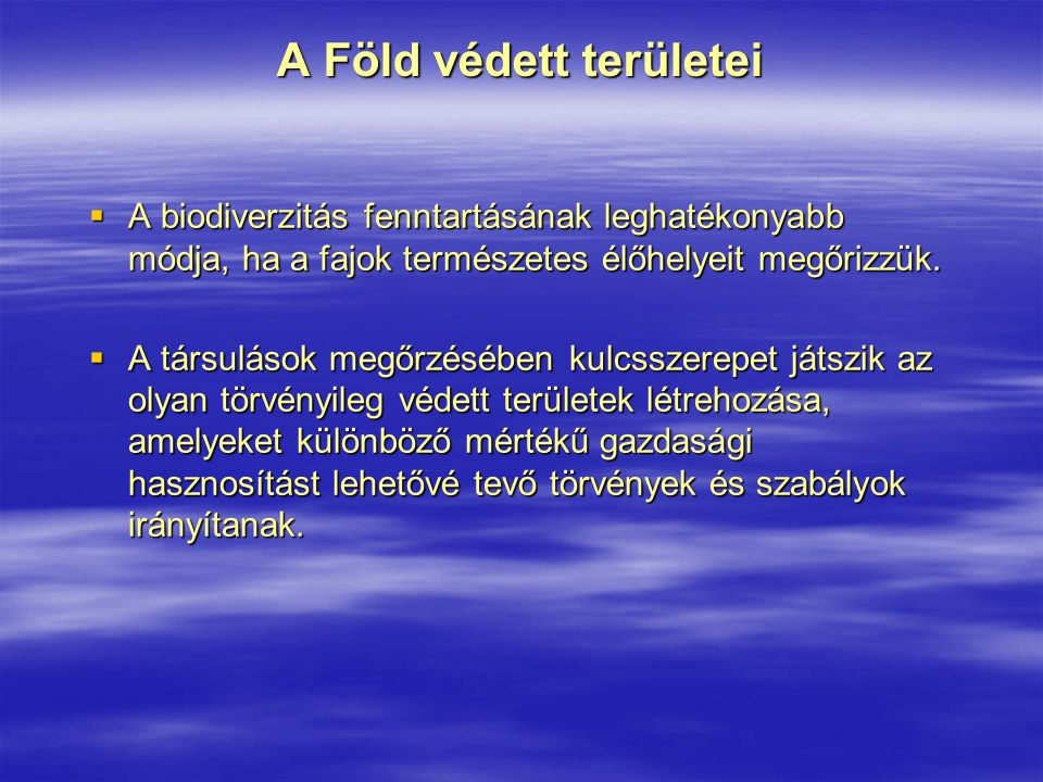 Hazánk vizes jellegű nemzeti parkjai Duna-Dráva Nemzeti Park  1996-ban létesítették döntően a Dráva folyó ártere mentén  területe összesen 49473 ha, melyből 14123 ha áll fokozott védelem alatt  törzskönyvi száma: 271/NP/96  karaktere: a praeillirikus jellegű folyó- és folyóparti vizivilág értékei és ökológiai folyosó szerepe