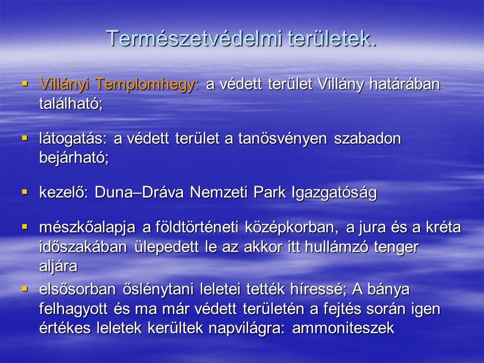 Természetvédelmi területek.  Villányi Templomhegy: a védett terület Villány határában található;  látogatás: a védett terület a tanösvényen szabadon