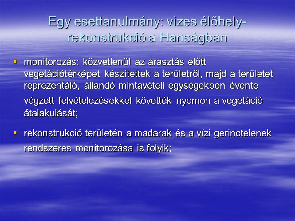 Egy esettanulmány: vizes élőhely- rekonstrukció a Hanságban  monitorozás: közvetlenül az árasztás előtt vegetációtérképet készítettek a területről, m