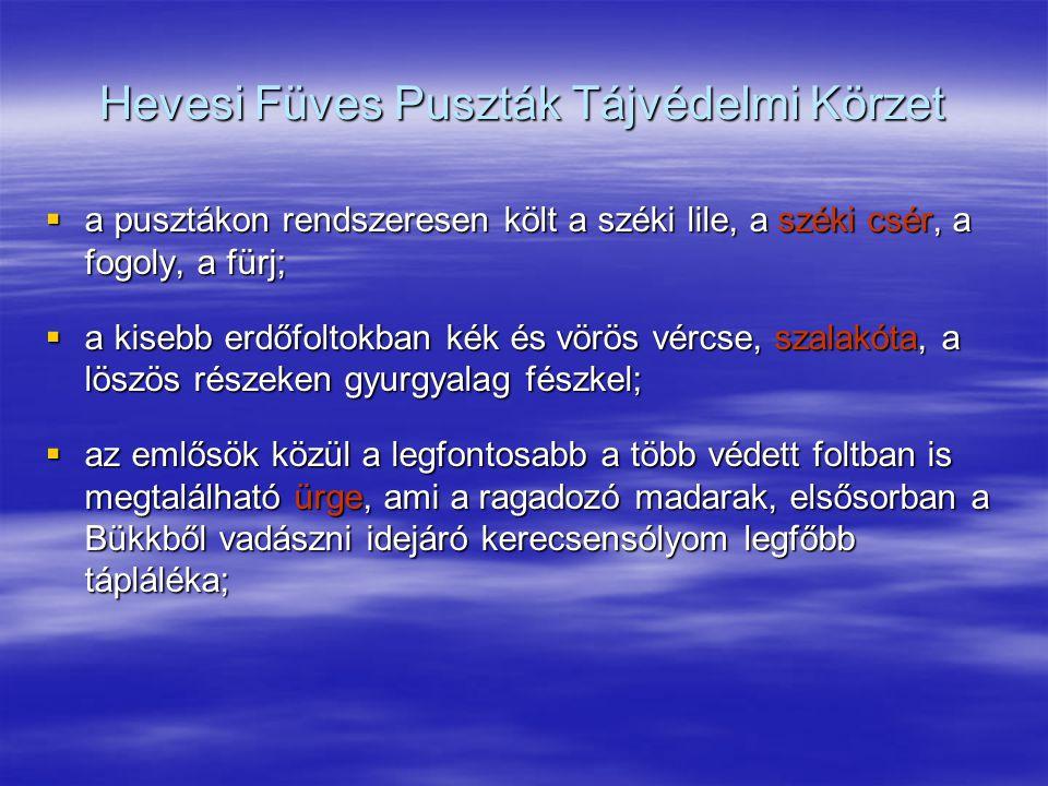Hevesi Füves Puszták Tájvédelmi Körzet  a pusztákon rendszeresen költ a széki lile, a széki csér, a fogoly, a fürj;  a kisebb erdőfoltokban kék és v