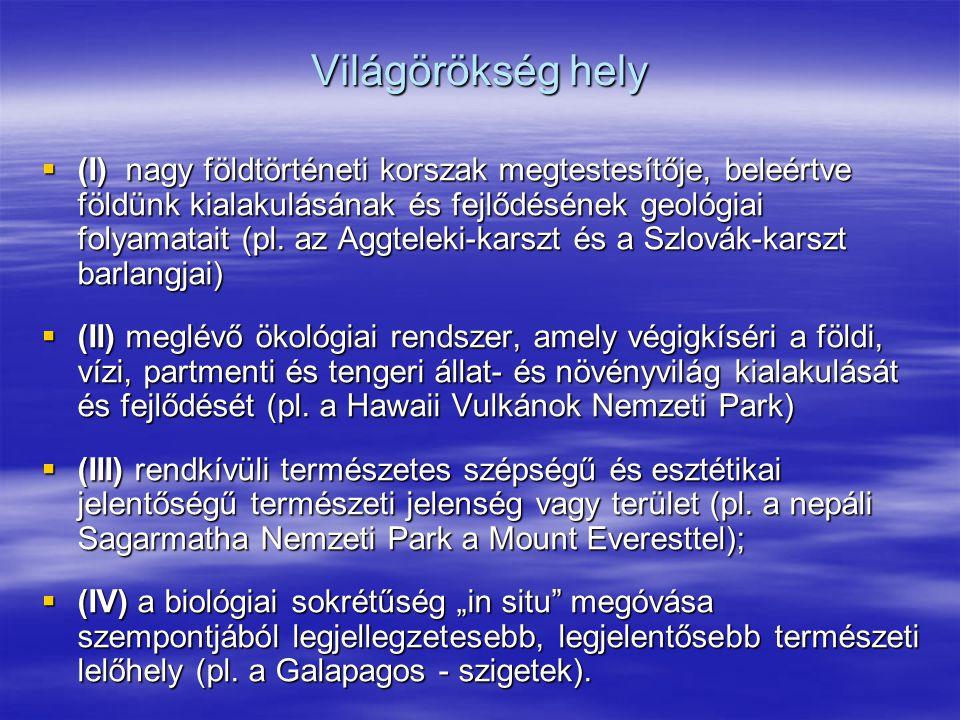 Világörökség hely  (I) nagy földtörténeti korszak megtestesítője, beleértve földünk kialakulásának és fejlődésének geológiai folyamatait (pl. az Aggt