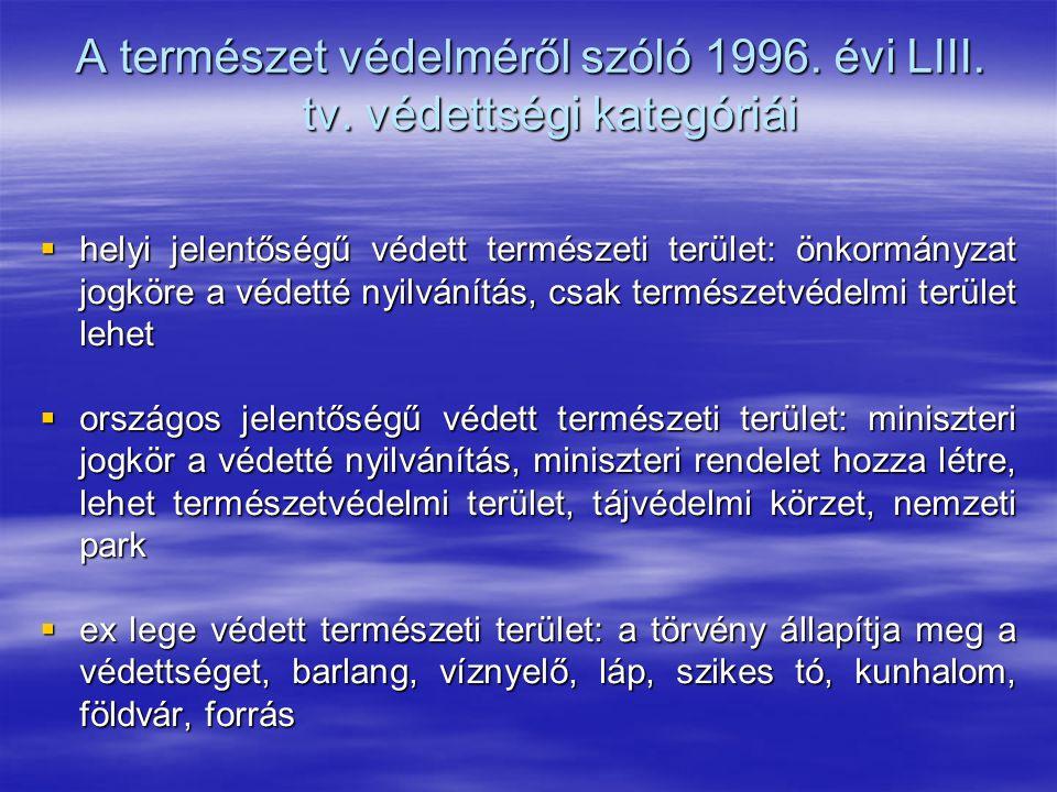 A természet védelméről szóló 1996. évi LIII. tv. védettségi kategóriái  helyi jelentőségű védett természeti terület: önkormányzat jogköre a védetté n