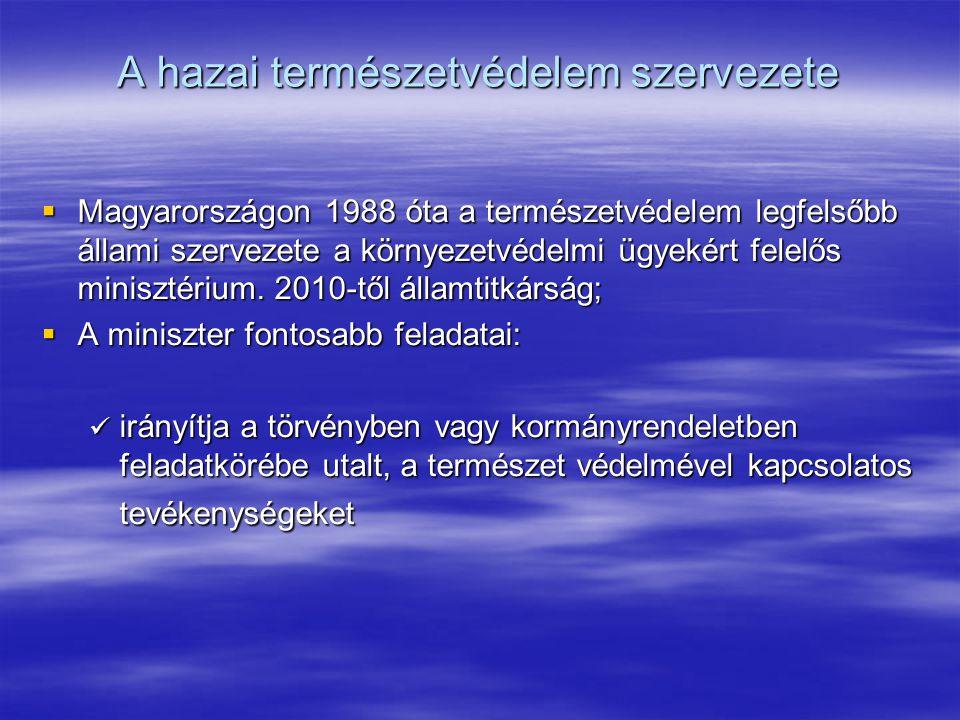 A hazai természetvédelem szervezete  Magyarországon 1988 óta a természetvédelem legfelsőbb állami szervezete a környezetvédelmi ügyekért felelős mini
