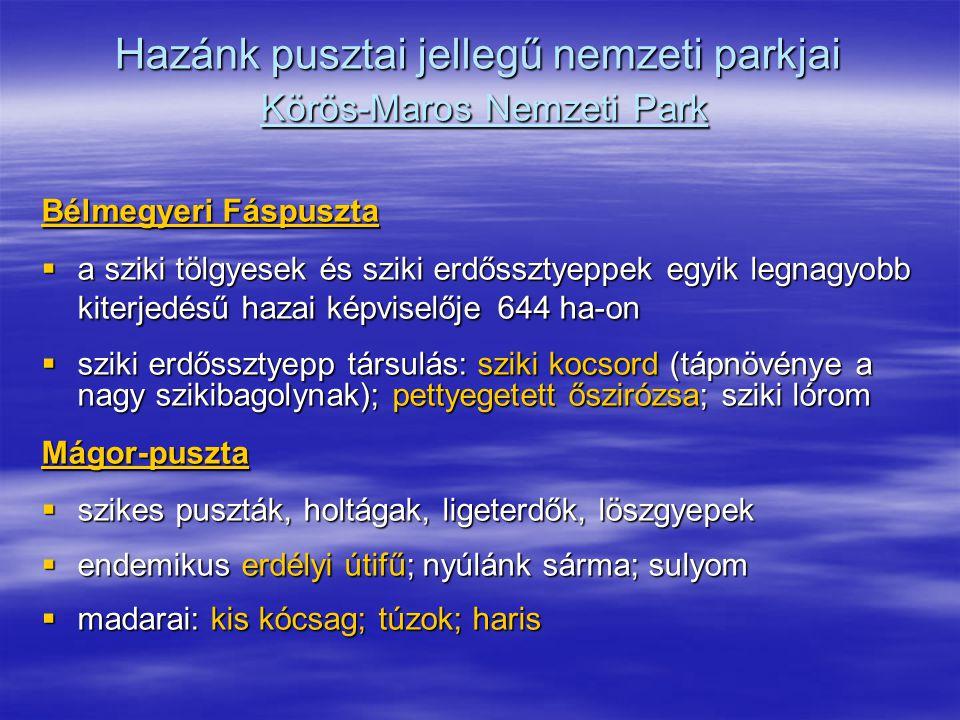 Hazánk pusztai jellegű nemzeti parkjai Körös-Maros Nemzeti Park Bélmegyeri Fáspuszta  a sziki tölgyesek és sziki erdőssztyeppek egyik legnagyobb kite