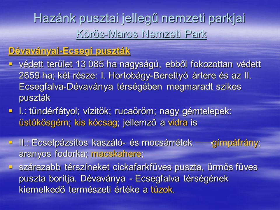 Hazánk pusztai jellegű nemzeti parkjai Körös-Maros Nemzeti Park Dévaványai-Ecsegi puszták  védett terület 13 085 ha nagyságú, ebből fokozottan védett