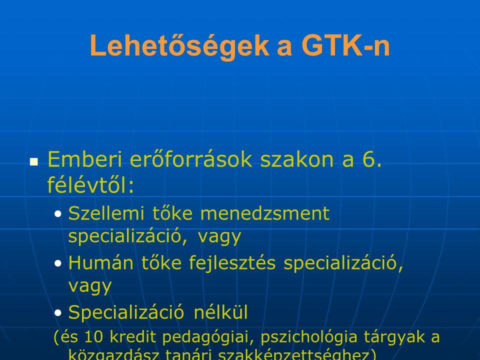 Lehetőségek a GTK-n Emberi erőforrások szakon a 6.