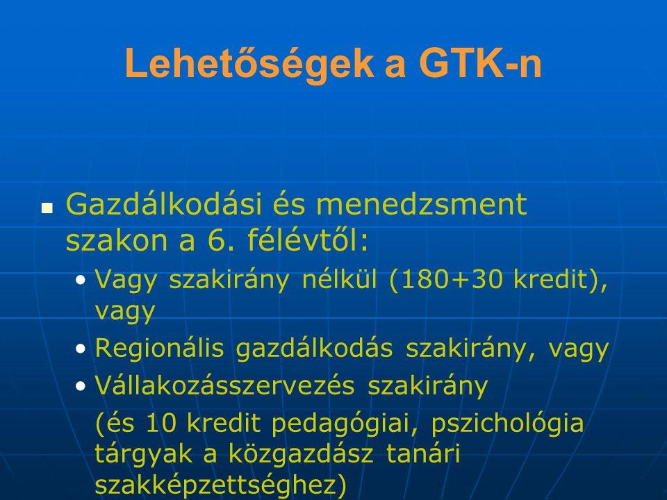 Lehetőségek a GTK-n Gazdálkodási és menedzsment szakon a 6.