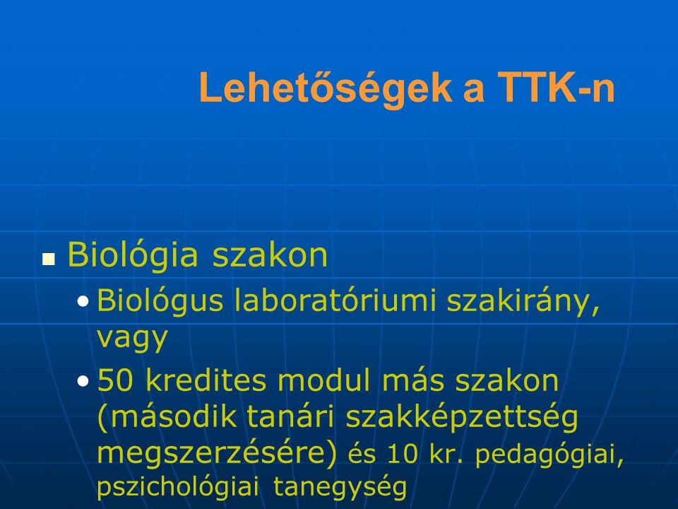 Lehetőségek a TTK-n Biológia szakon Biológus laboratóriumi szakirány, vagy 50 kredites modul más szakon (második tanári szakképzettség megszerzésére) és 10 kr.