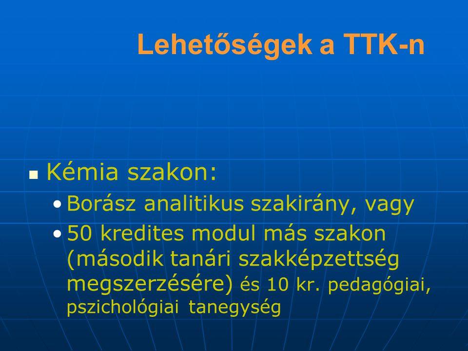 Lehetőségek a TTK-n Kémia szakon: Borász analitikus szakirány, vagy 50 kredites modul más szakon (második tanári szakképzettség megszerzésére) és 10 kr.