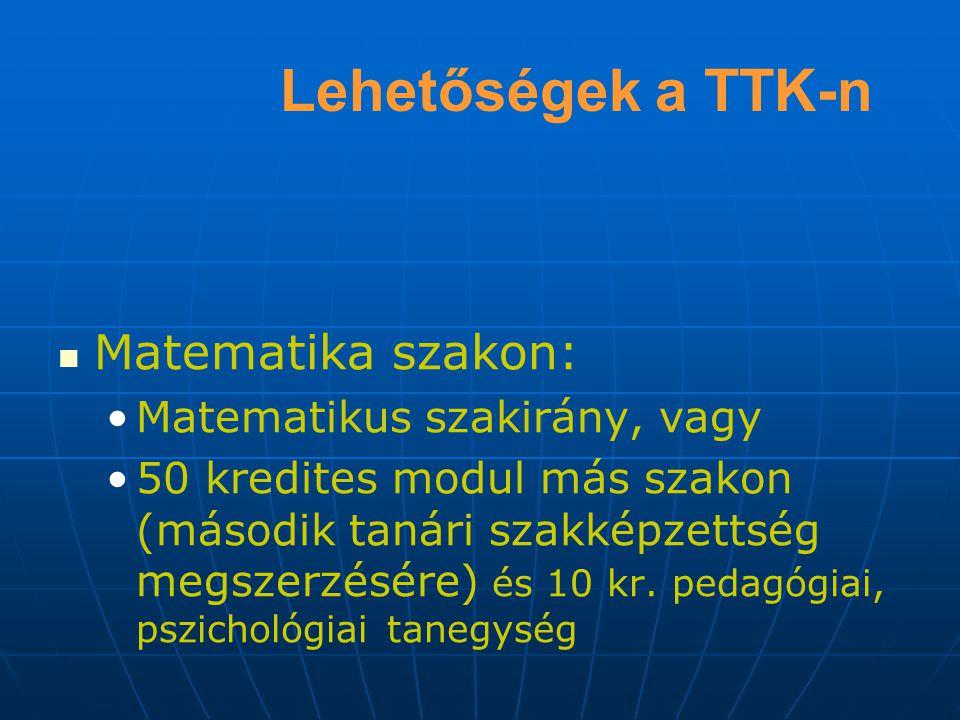 Lehetőségek a TTK-n Matematika szakon: Matematikus szakirány, vagy 50 kredites modul más szakon (második tanári szakképzettség megszerzésére) és 10 kr.
