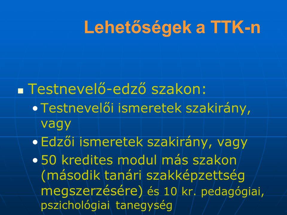 Lehetőségek a TTK-n Testnevelő-edző szakon: Testnevelői ismeretek szakirány, vagy Edzői ismeretek szakirány, vagy 50 kredites modul más szakon (második tanári szakképzettség megszerzésére) és 10 kr.