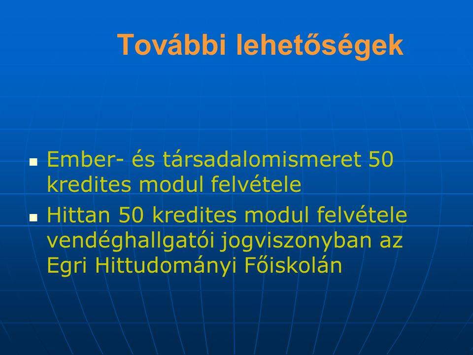 További lehetőségek Ember- és társadalomismeret 50 kredites modul felvétele Hittan 50 kredites modul felvétele vendéghallgatói jogviszonyban az Egri Hittudományi Főiskolán