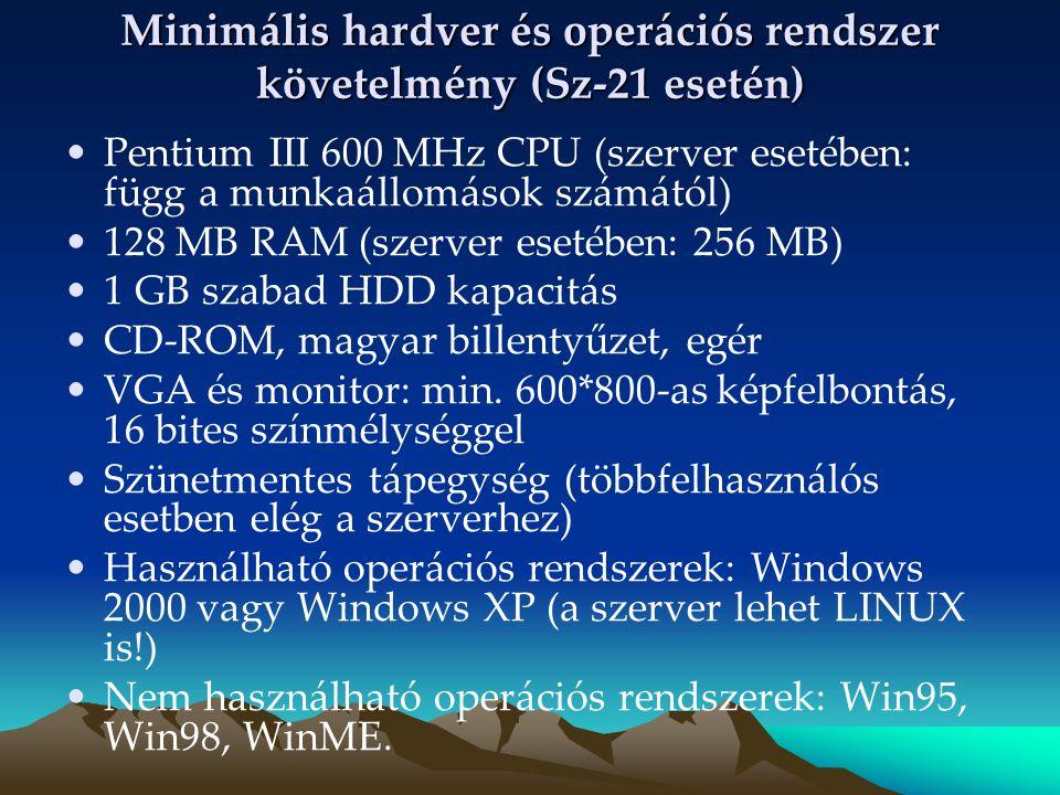 Minimális hardver és operációs rendszer követelmény (Sz-21 esetén) Pentium III 600 MHz CPU (szerver esetében: függ a munkaállomások számától) 128 MB R