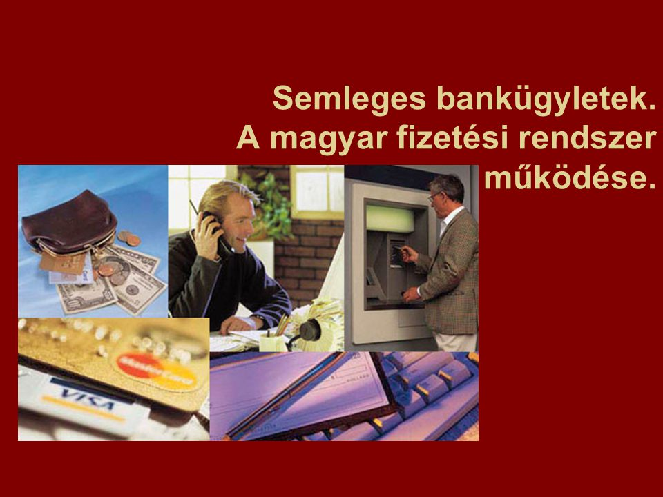 """Mérlegen kívüli tételek (mérleg """"alatti tételek) Semleges bankműveletek Banki kötelezettségvállalás: A bank vállalja, hogy valamilyen feltétel teljesülése esetén, egy jövőbeli időpontban finanszírozni fog –Kereskedelem-finanszírozás: kereskedelmi akkreditívek, elfogadvány-hitel, kereskedelmi garancia –Hitelnyújtási kötelezettségvállalás: hitelkeret, rulírozó hitelszerződések, értékpapír kibocsátás, értékpapírosítás –Befektetések: swap, határidős ügyletek, kamatmaximum és -minimum Bankszolgáltatások: Azon pénzügyi szolgáltatások, melyeket a betét-hitel üzletágon kívül ellát a bank –Pénzforgalom (készpénzes, kp."""