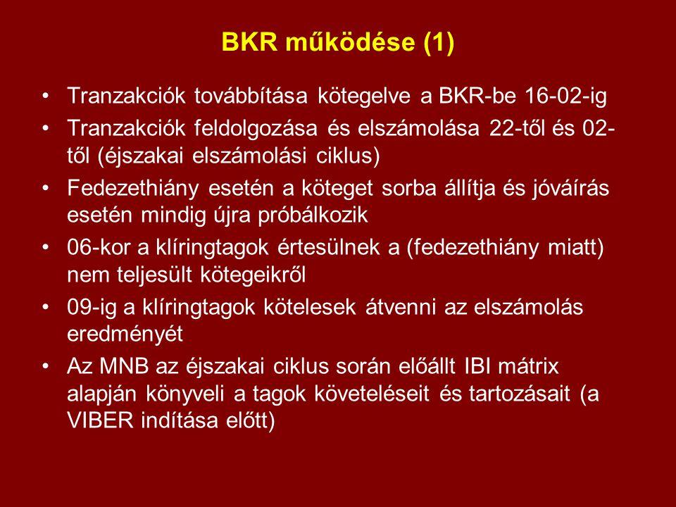 BKR működése (1) Tranzakciók továbbítása kötegelve a BKR-be 16-02-ig Tranzakciók feldolgozása és elszámolása 22-től és 02- től (éjszakai elszámolási c