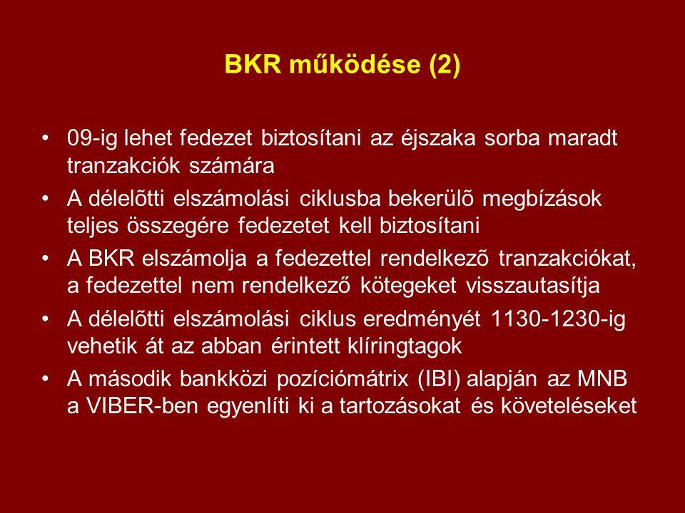 BKR működése (2) 09-ig lehet fedezet biztosítani az éjszaka sorba maradt tranzakciók számára A délelõtti elszámolási ciklusba bekerülõ megbízások telj