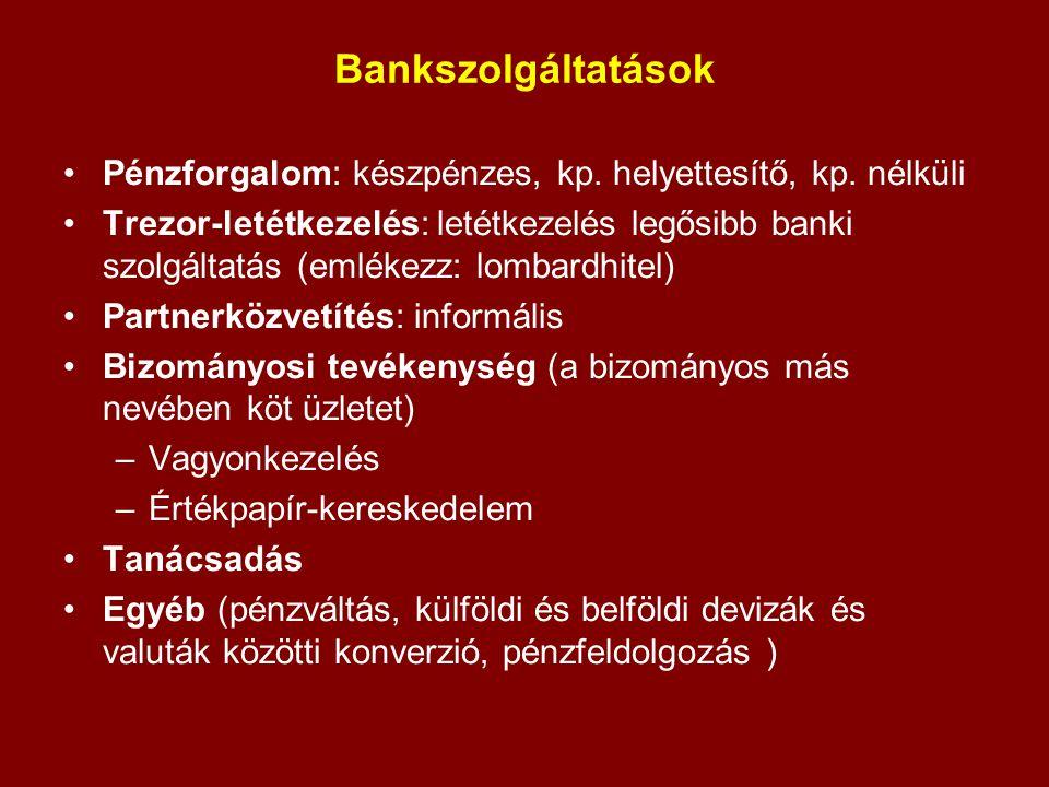 Bankszolgáltatások Pénzforgalom: készpénzes, kp. helyettesítő, kp. nélküli Trezor-letétkezelés: letétkezelés legősibb banki szolgáltatás (emlékezz: lo