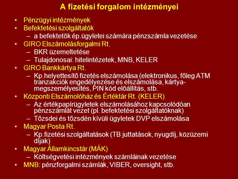Elszámolási rendszerek VIBER (1999) Kis számú, egyenként nagy értékű átutalások RTGS (Real-time gross settlement) – folyamatos, egyenkénti elszámolás (nem nettósít) A résztvevõk a S.W.I.F.T.