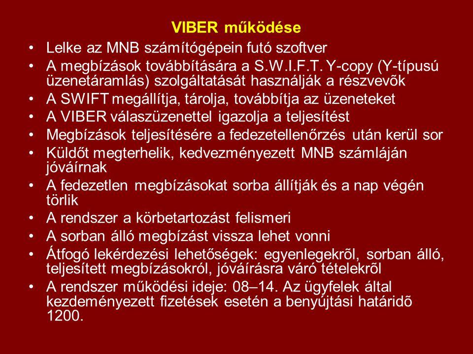 VIBER működése Lelke az MNB számítógépein futó szoftver A megbízások továbbítására a S.W.I.F.T. Y-copy (Y-típusú üzenetáramlás) szolgáltatását használ