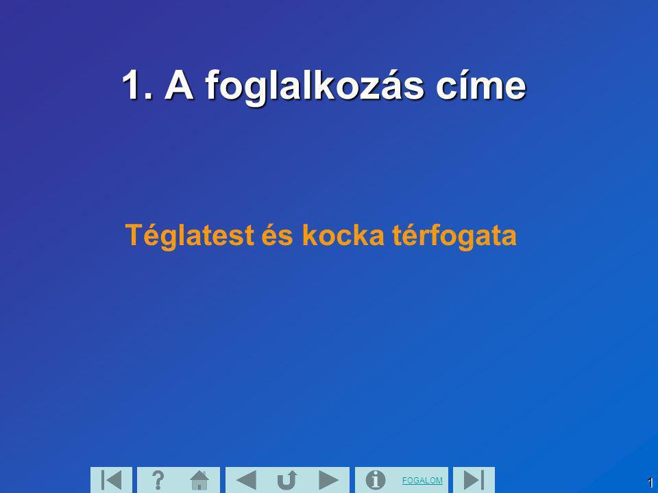 FOGALOM1 1. A foglalkozás címe Téglatest és kocka térfogata
