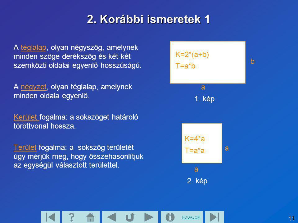 FOGALOM 11 a a 2. kép a b 1. kép 2. Korábbi ismeretek 1 A téglalap, olyan négyszög, amelynek minden szöge derékszög és két-két szemközti oldalai egyen