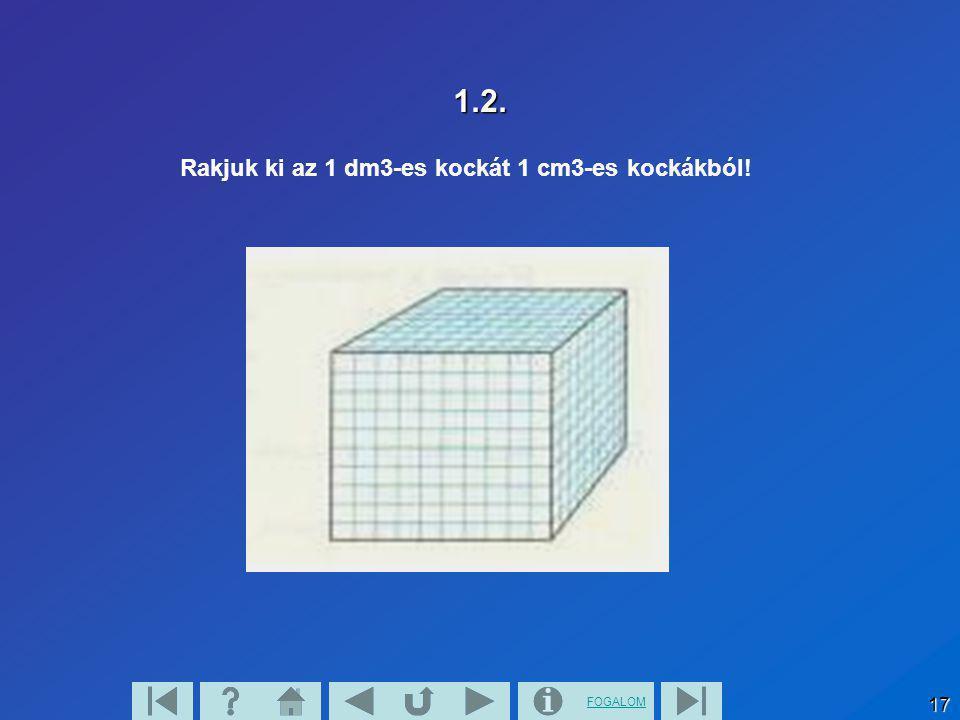 FOGALOM 17 1.2. Rakjuk ki az 1 dm3-es kockát 1 cm3-es kockákból!