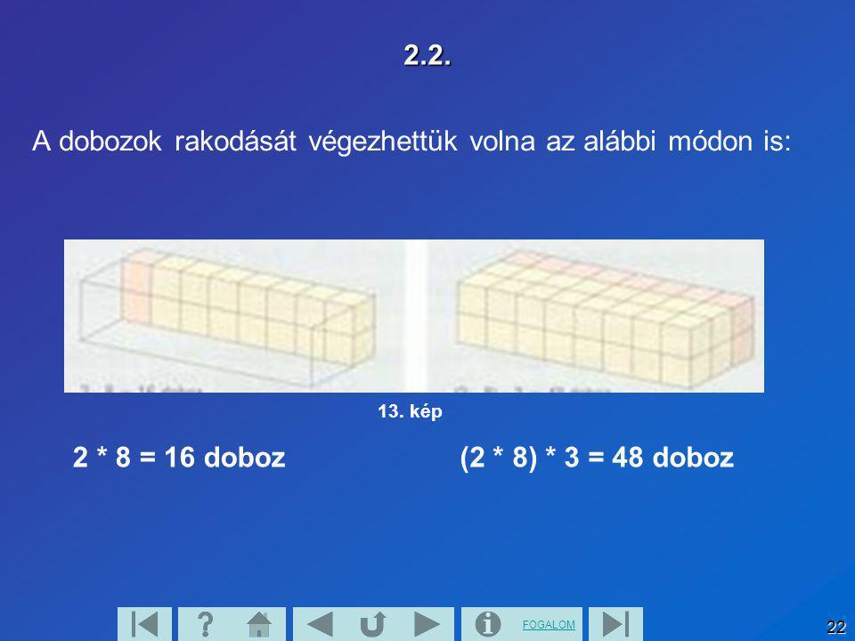 FOGALOM 22 2.2. A dobozok rakodását végezhettük volna az alábbi módon is: 2 * 8 = 16 doboz(2 * 8) * 3 = 48 doboz 13. kép