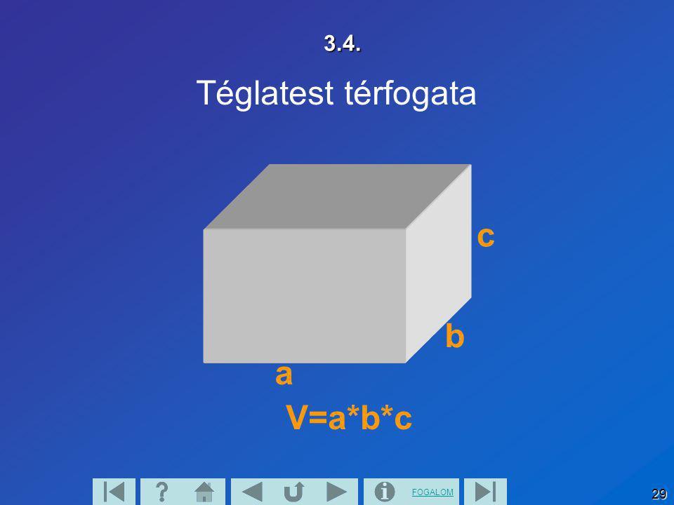 FOGALOM 29 3.4. Téglatest térfogata V=a*b*c a b c