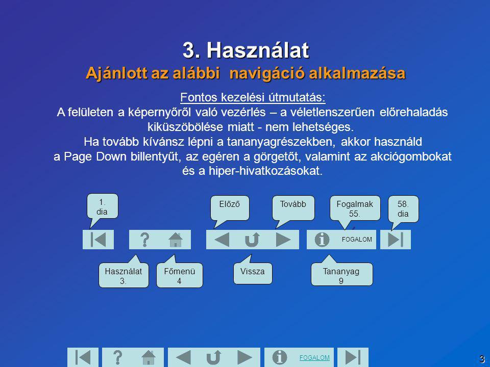 FOGALOM 3 3. Használat Ajánlott az alábbi navigáció alkalmazása FOGALOM 1. dia Használat 3. Főmenü 4 Tananyag 9 58. dia Vissza Fogalmak 55. TovábbElőz